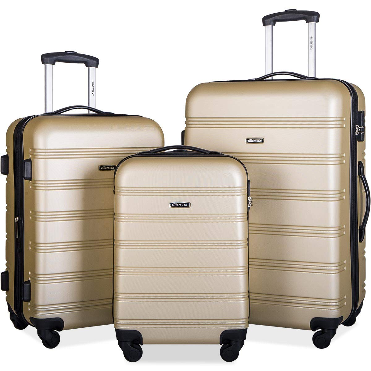 Merax Travelhouse Luggage Set 3 Piece Expandable Lightweight Spinner Suitcase by Merax