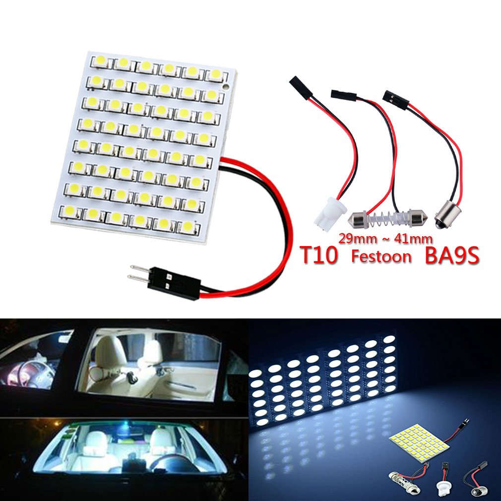 KATUR Led Panel 48SMD 5050 2xT10 Ba9s Adapter Festoon Dome Light 12V panel