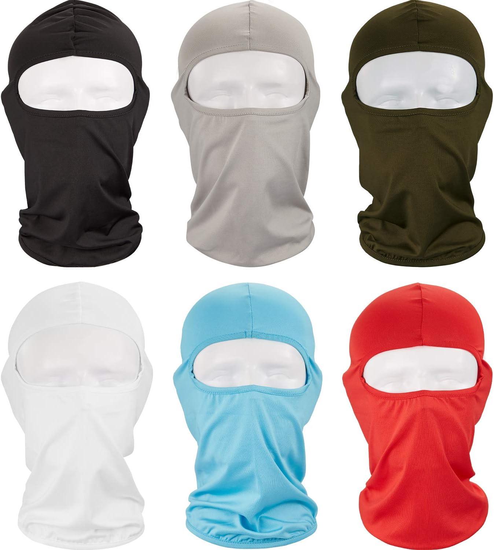 Syhood 6 Piezas Pasamontañas Máscara Facial Completa Protección contra Polvo Solar Máscara de Esquí Cubierta de Cuello Transpirable para Suministros Deportivos de Caza Pesca (Color 1)