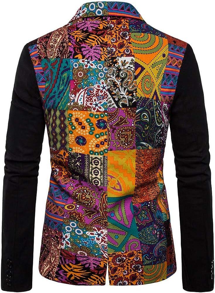 Tosonse Blazer Casual para Hombre Vestido Estampado Étnico Vintage ...