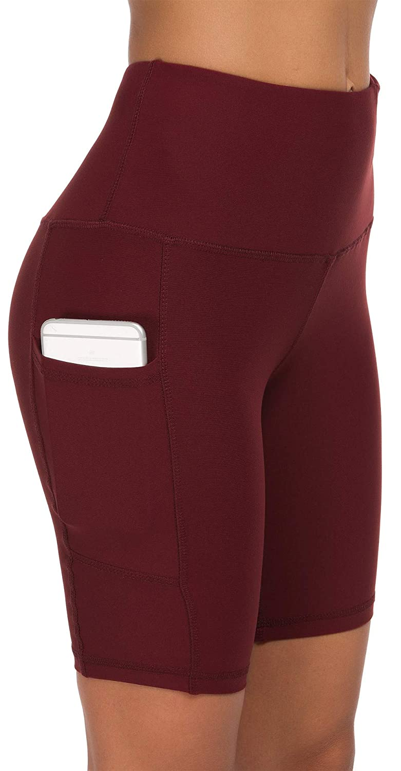 Wine Red Custer's Night High Waist Out Pocket Yoga Short Tummy Control Workout Running 4 Way Stretch Yoga Leggings