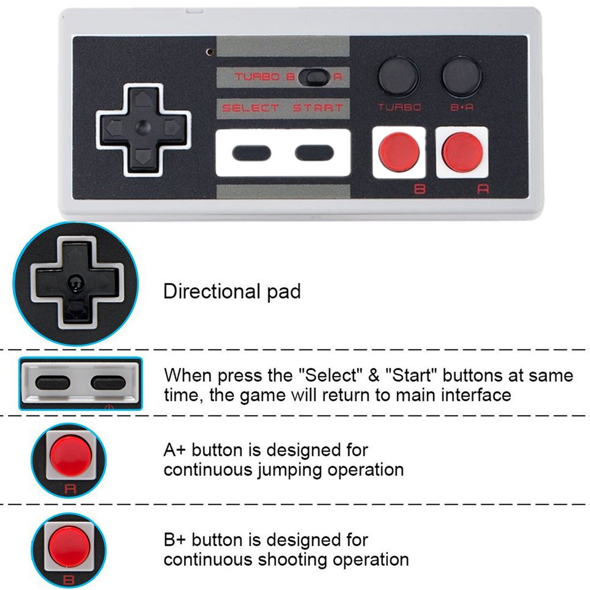 Wireless NES Mini Classic Rechargeable Controller,NES Wireless Gamepad for Nintendo Mini NES Classic Edition, Wireless Joypad & Gamepads Controller (2 Pack) by Kyerivs (Image #3)