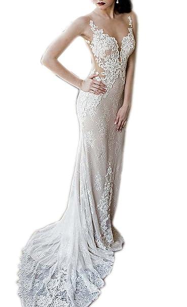 Engerla mujer de encaje profundo cuello en V Sheer correas sin espalda de corte tren de sirena vestido de novia: Amazon.es: Ropa y accesorios