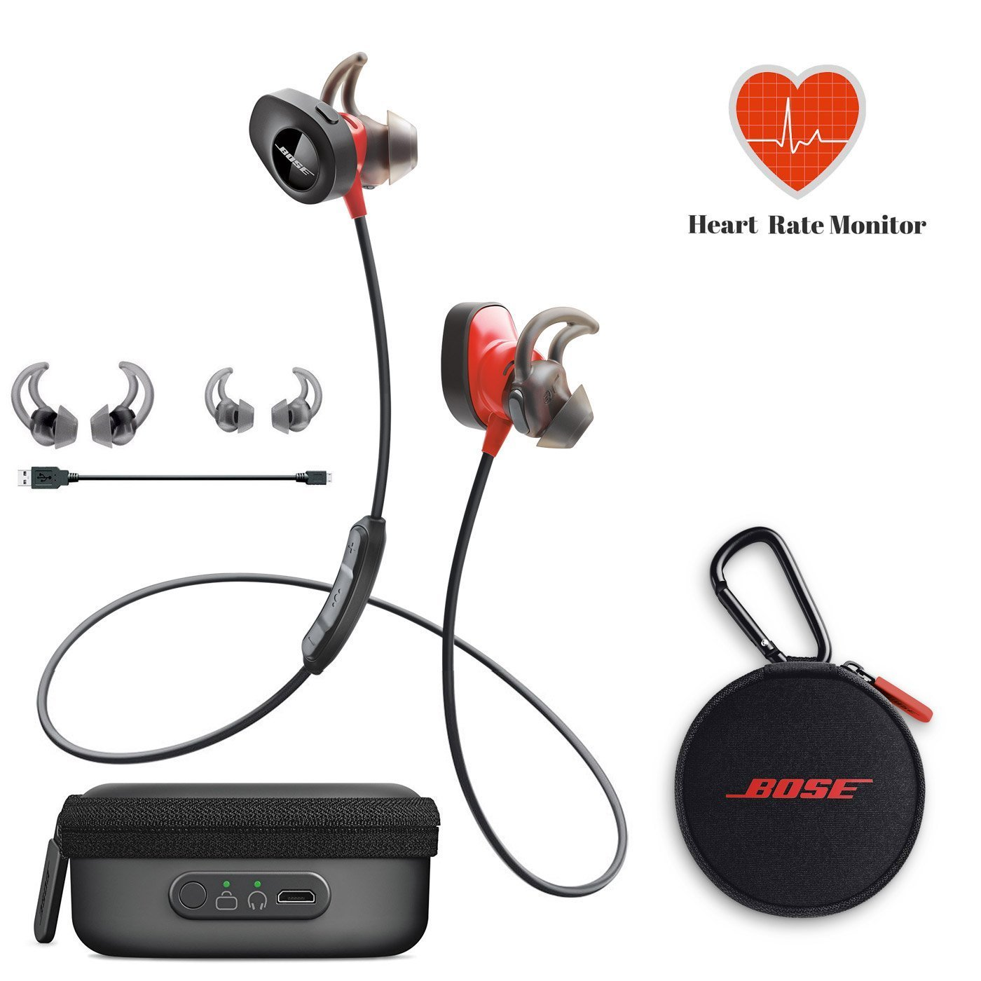 Bose SoundSport Pulse | Sport Heart Rate Bluetooth Wireless In-Ear Headphones - Red & Charging Case - Bundle