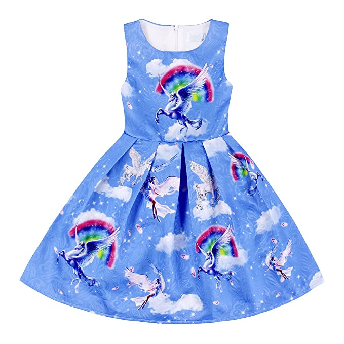 Amazon.com: Cotrio Unicorn Dress for Little Girl Cosplay Dress up Birthday Them Party Dresses (Blue/Pink): Clothing