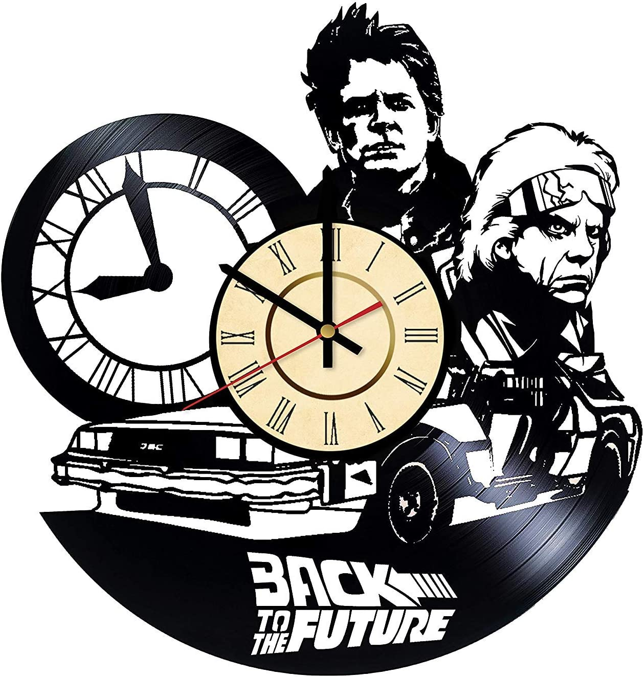 Back to The Future Vinyl Clock Best Gift for Science Fiction Film Marty McFly Emmett Doc Brown Lovers Wall Home Decor