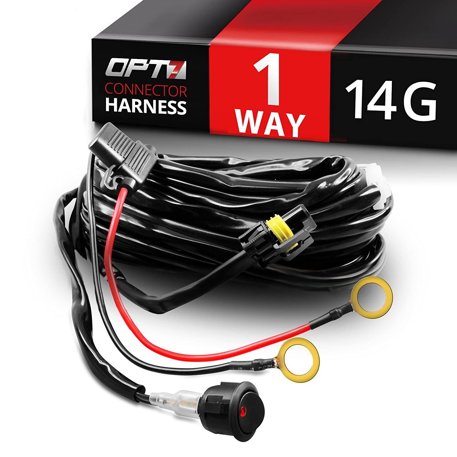 71vzZ28pwbL._SL1500_ amazon com opt7 led light bar wiring harness 14 gauge 380w wiring off road wiring harness at mifinder.co