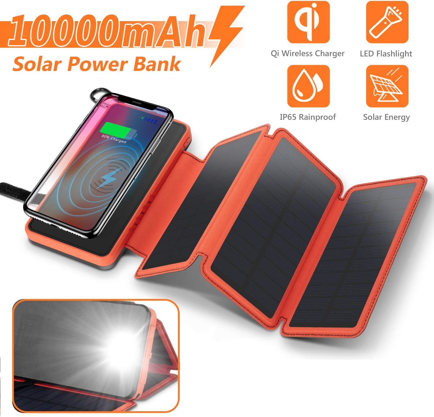Roadiress Portable 10W Outdoor IP64 Waterproof Solar Panel Mobile Power Charger 5V USB Output Solar Power Bank Mobile Solar Charger