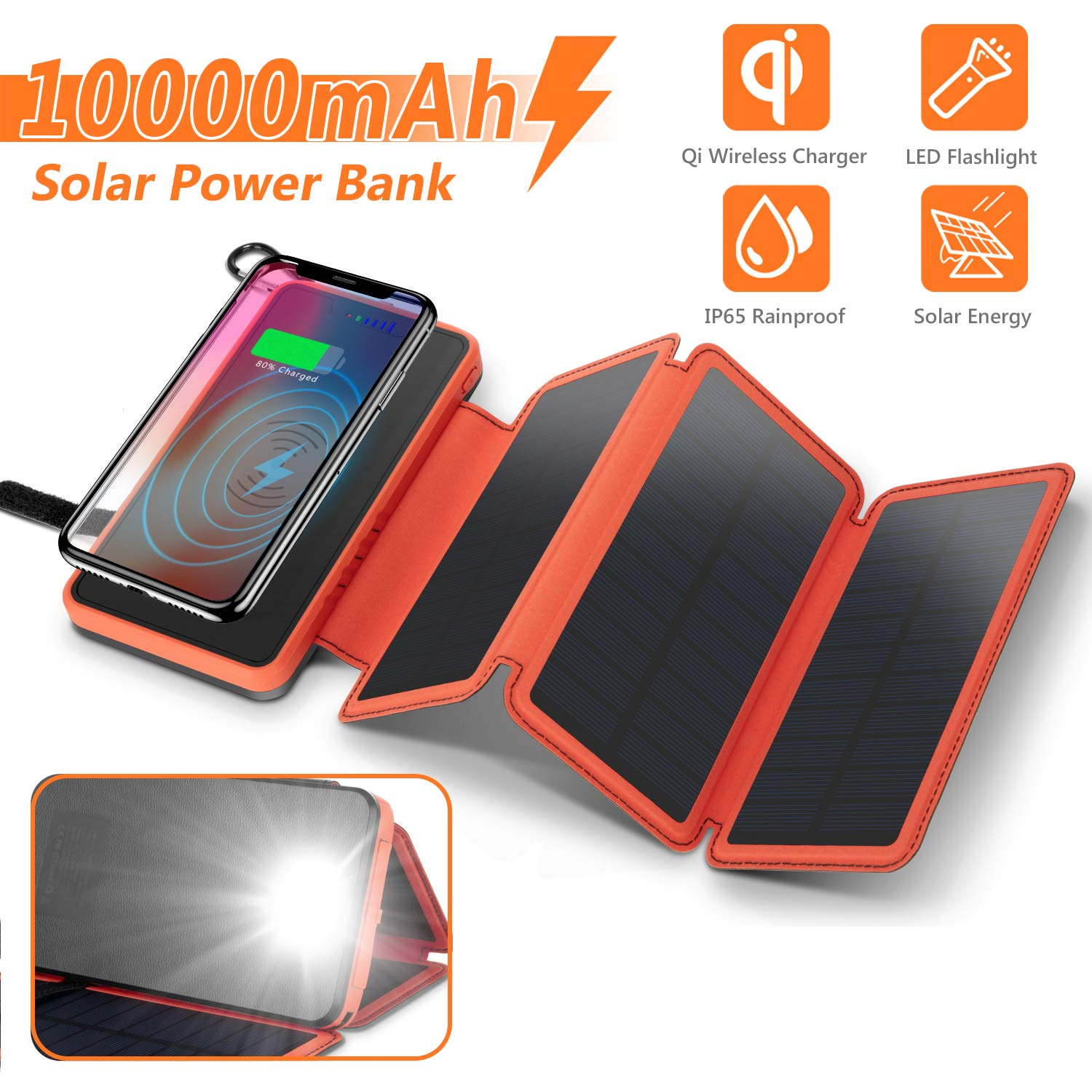 Solar Charger 10000mAh, 4.5W Qi Wireless Charger Portable Power Bank External Battery Back with 3 Solar Panels, Flashlight, Dual 5V/2.1A USB Port, IP65 Rainproof for Camping Hiking Fishing(Orange) by AMZGO