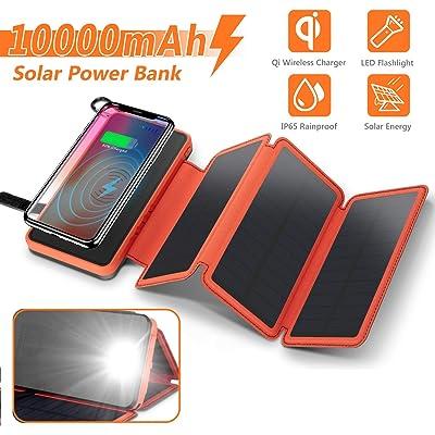 Solar Charger Wireless Power Bank,Waterproof Portable External Battery Pack 10000mAh