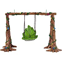 Wonderland Miniature Fairy Garden Leaf Swing for Planter Decoration, Bonsai, Terrarium, Mini, Miniatures, Room Decor, 4.3-Inch (Multicolour)