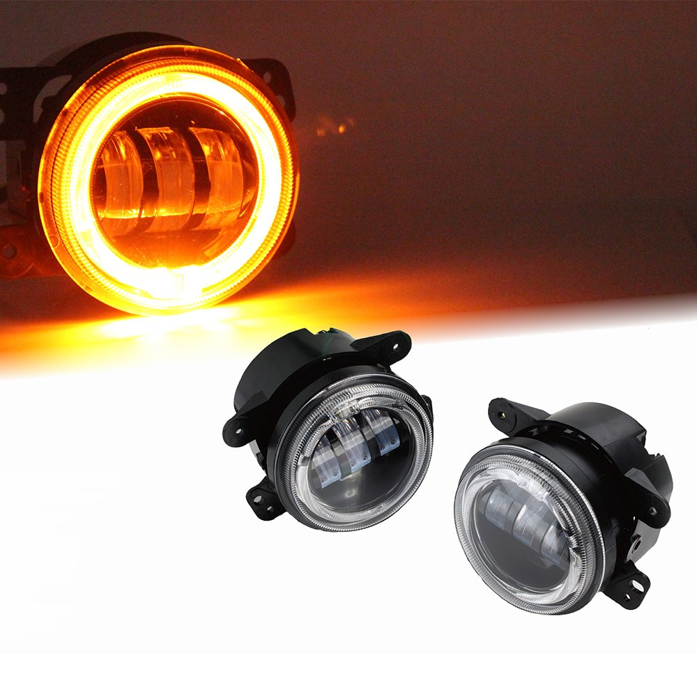 50off Xprite 4 Inch 60w Cree Led Fog Lights W Yellow Amber Halo Off Road