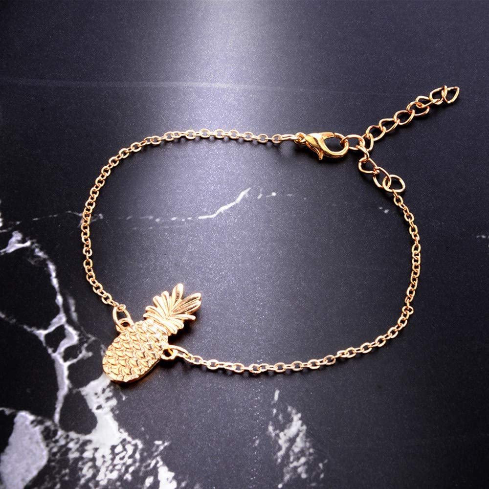 Gold Womens Summer Beach Sandal Barefoot Chains Foot Bracelet Ankle Chain Ankle Molyveva Cute Openwork Three-Dimensional Pineapple Anklet Fruit Anklet