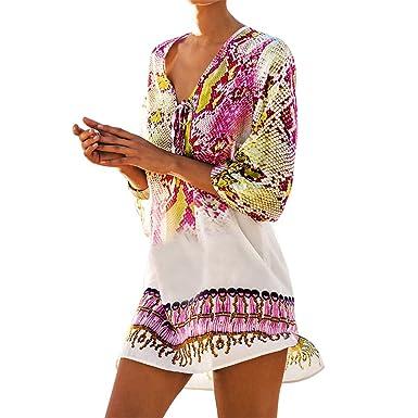 d6aeff4b10 Women Snake Print Bikini Cover up Chiffon Swimsuit Beach Dress Pullover  Swimwear 1