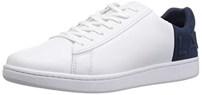 1a932a7fc800 Lacoste Men s Carnaby EVO 318 Sneaker White Navy Leather 8 Medium US