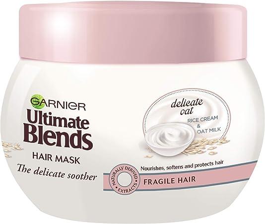 Mascarilla de cabello Garnier Ultimate Blends de leche de avena para cuero cabelludo sensible, 300 ml