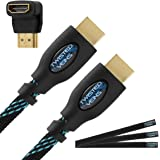 Twisted Veins 50' High Speed HDMI Cable + Right Angle Adapter and Three Microfiber Cable Ties (Latest Version Supports Ethernet and Audio Return)