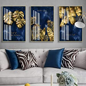 Modern Nordic Luxury Navy Blue Gold Abstract Texture Canvas Print Wall Art Poster Decorative Painting for Living Room Home Decor/50x70cmx3Pcs-No Frame
