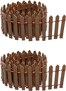 ZZHXSM 35 Inch Miniature Fairy Garden Fence DIY Wood Decorative Ornament Fence for Dollhouse Succulent Plant Pot Studio Scenes, 2 inch Height Pack of 2