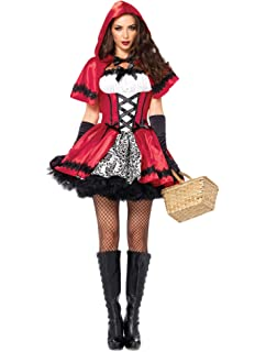 d1f20d296af5 Fortuning s JDS Donne Halloween Mantello Cappuccetto Rosso Vestito Guanti  calze autoreggenti Costume cosplay