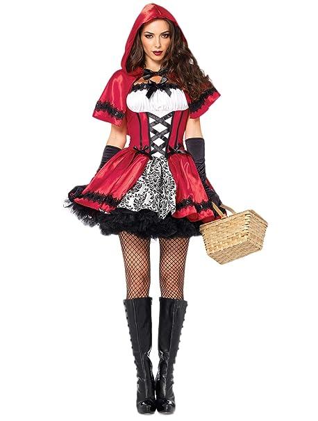 Fortuning s JDS Mujeres Halloween Caperucita Roja Capote Vestido Guantes  Medias Disfraz de Cosplay (4Pcs) 53e544be19b3
