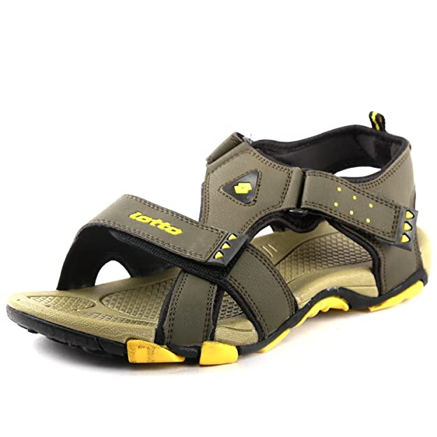 Lotto Men's Olive Yellow Sandals and Floaters Men's Fashion Sandals at amazon