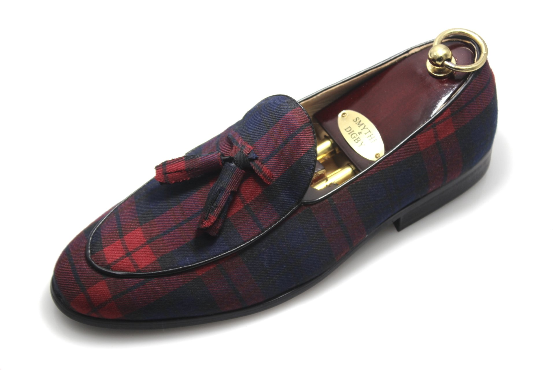 Mens Smythe and Digby Tartan Tassel Belgian Loafers Leather (11)