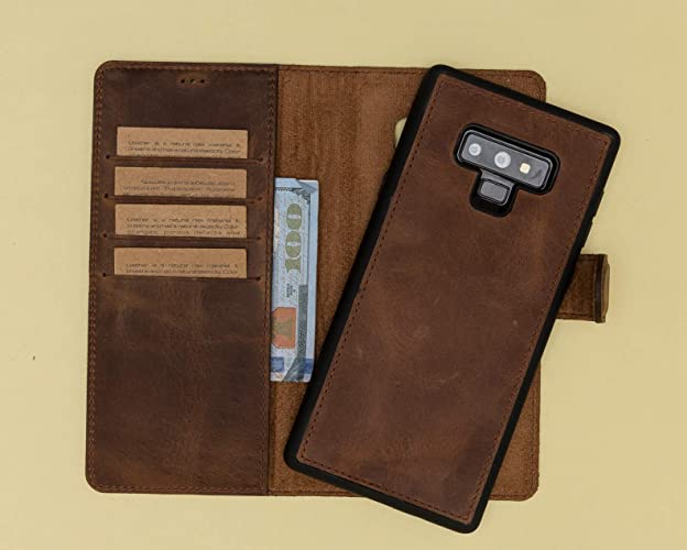 9dd106b6468c Galaxy Note 9 Leather Case Magnethic Detachable Genuine Leather Purple  Brown Red Black Navy Blue Note 9 Wallet Case, Man or Women Ready to Ship,  ...