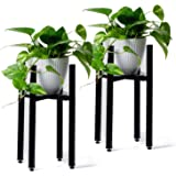 Encore Essentials Adjustable Metal Plant Stand (2 Pack) - Black Mid Century Plant Stands with Planter Trays - Heavy Duty for