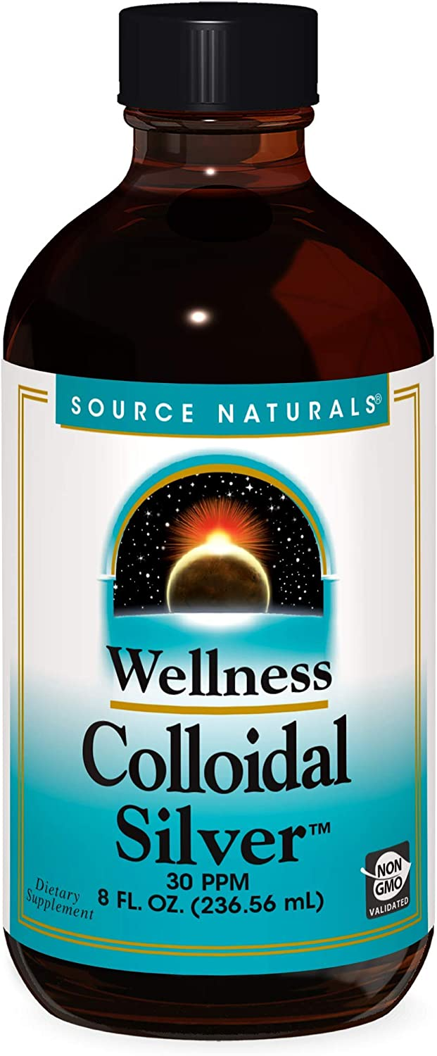 Source Naturals Wellness Colloidal Silver 30 ppm Supports Physical Well Being - 8 Fluid oz