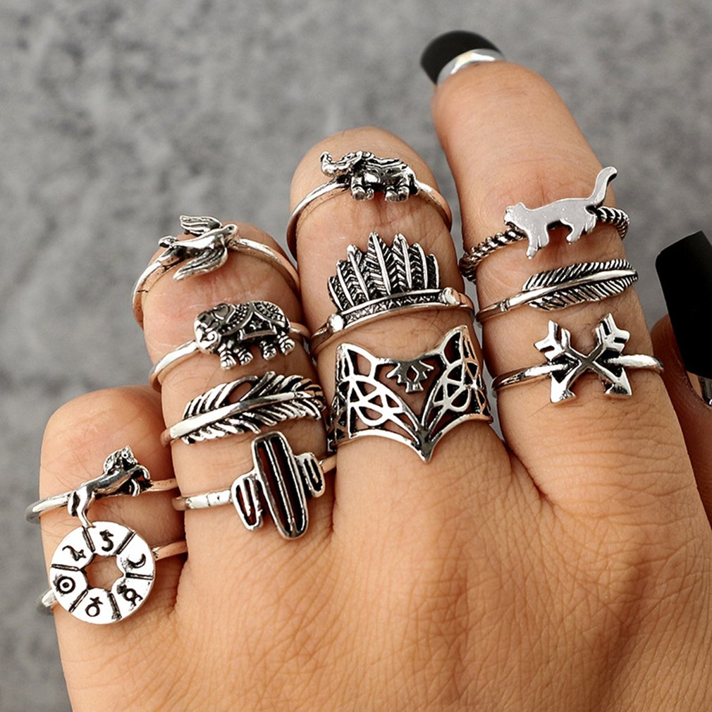 GUAngqi Vintage Carved Animal Crown Feather Finger Ring Set Hollow Fox 3D Elephant Knuckle Ring Sets Jewelry Gifts,Fox elephant(12Pcs/set by GUAngqi (Image #2)