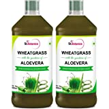 Stbotanica Wheatgrass With Aloevera Juice With No Added Sugar 500Ml - 2 Bottles