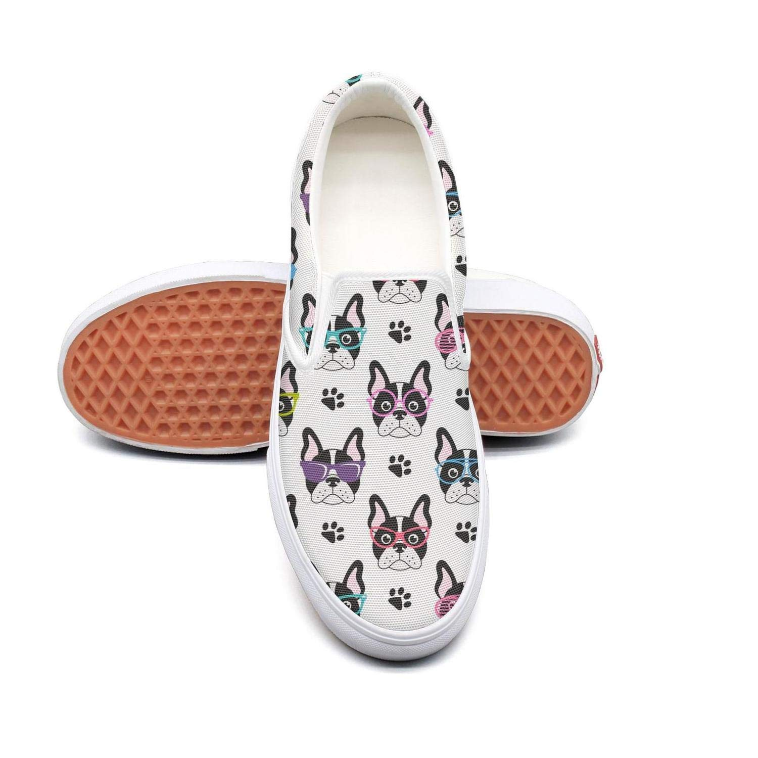 PDAQS Women french bulldogs with glasses white loafers slip on shoes low top