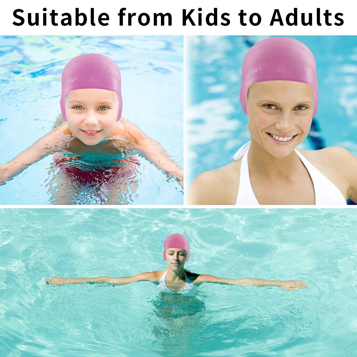 Cuffie-Nuoto-Bimba-Adulto-Piscina-Professionali Swim Cap Vetoky Bambino  Graduati nero    blu    argento    rosa Cappello ... 35c615e72eb8