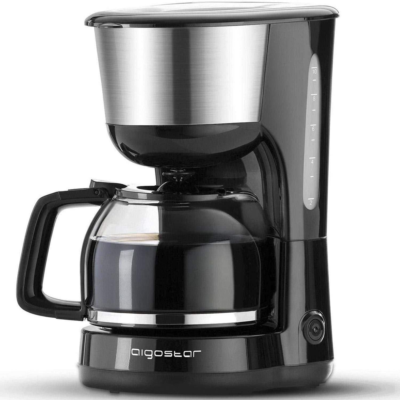 Aigostar Chocolate 30HIK–Máquina de café, 1000W cafetera de filtro, con filtro reutilizable y función de mantener caliente. Sistema antigoteo. 1,25 ...