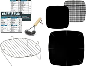 Air Fryer Accessories Compatible with Philips, Secura, Emeril Lagasse, Enklov + More | For 7 x 7 inch Square Basket – 3.5QT – 3.7QT – 5.3QT – 5.5QT | Stainless Steel Rack, Magnetic Cheat Sheet Guides