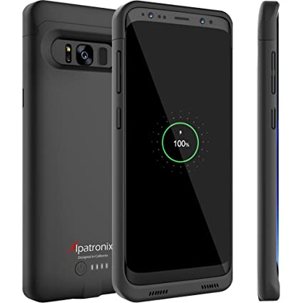Galaxy S8 Battery Case Qi Wireless Charging Compatible, Alpatronix Bx430 5.8 Inch 4500m Ah Slim Rechargeable Extended Protective Portable Backup Charger Case Samsung Galaxy S8 [Android 8.0] – Black by Alpatronix