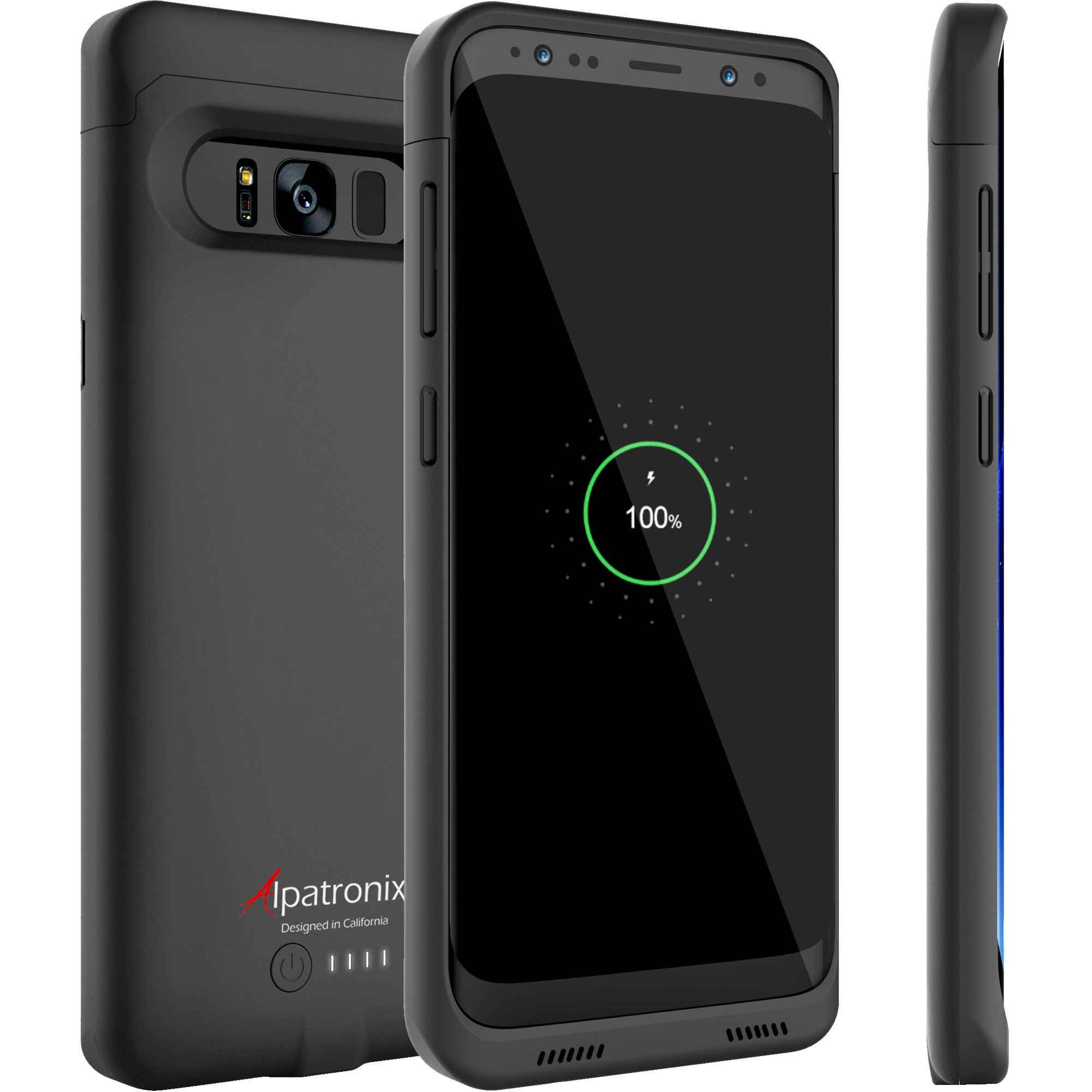 Galaxy S8 Plus Battery Case Compatible with Qi Wireless Charging, Alpatronix BX430plus 6.2-inch 5000mAh Slim Rechargeable Protective Portable Charger Cover for Samsung Galaxy S8+ [Android 8.0] - Black