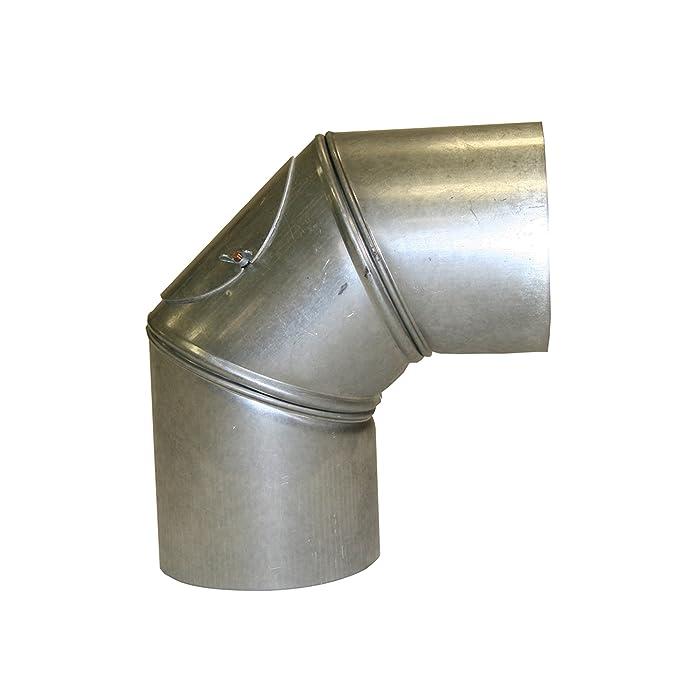 Kamino - Flam - Codo con puerta para chimenea de leña y estufa de leña, Codo vitrificado, Codo de escape - resistente a altas temperaturas - plata, 150 ...