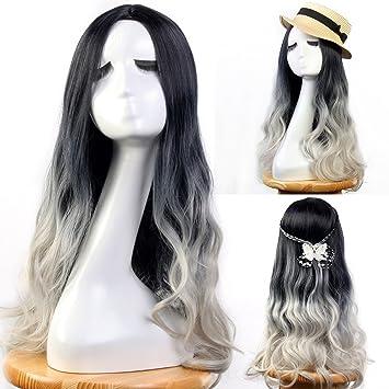 Pelucas Neverland para mujer, de 60cm, en color negro, gris,