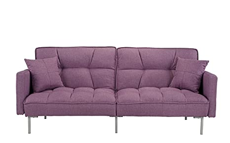 Divano Roma Furniture Collection - Modern Plush Tufted Linen Fabric Splitback Living Room Sleeper Futon (Light Purple)