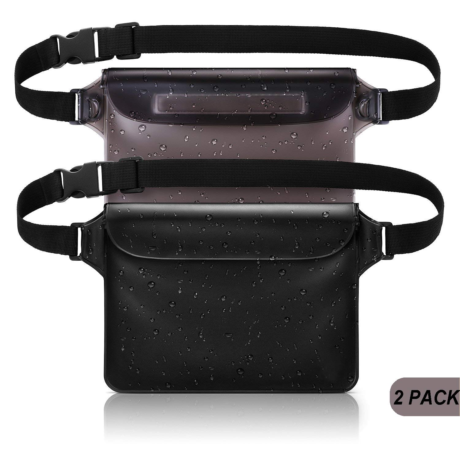 Waterproof Pouch Bag with Waist Strap, 2 Pack The Most Durable Super Lightweight Waterproof Phone Case/Wallet, Perfect for Kayaking Beach Pool Water Parks Boating Snorkeling Swimming and Fishing by CUZMAK