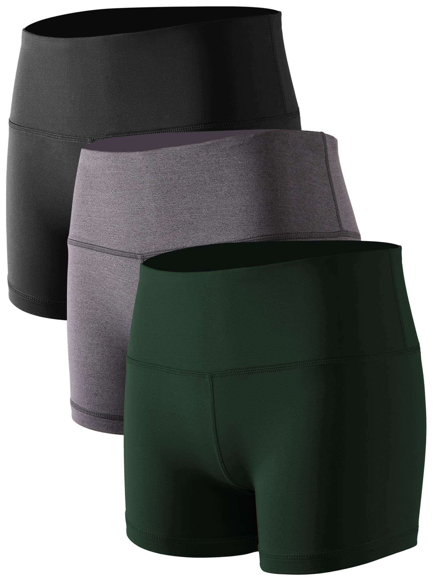 Cadmus Women's High Waist Athletic Sport Workout Shorts with Pocket,3 Pack,05,Black,Grey,Dark Green,Small by Cadmus
