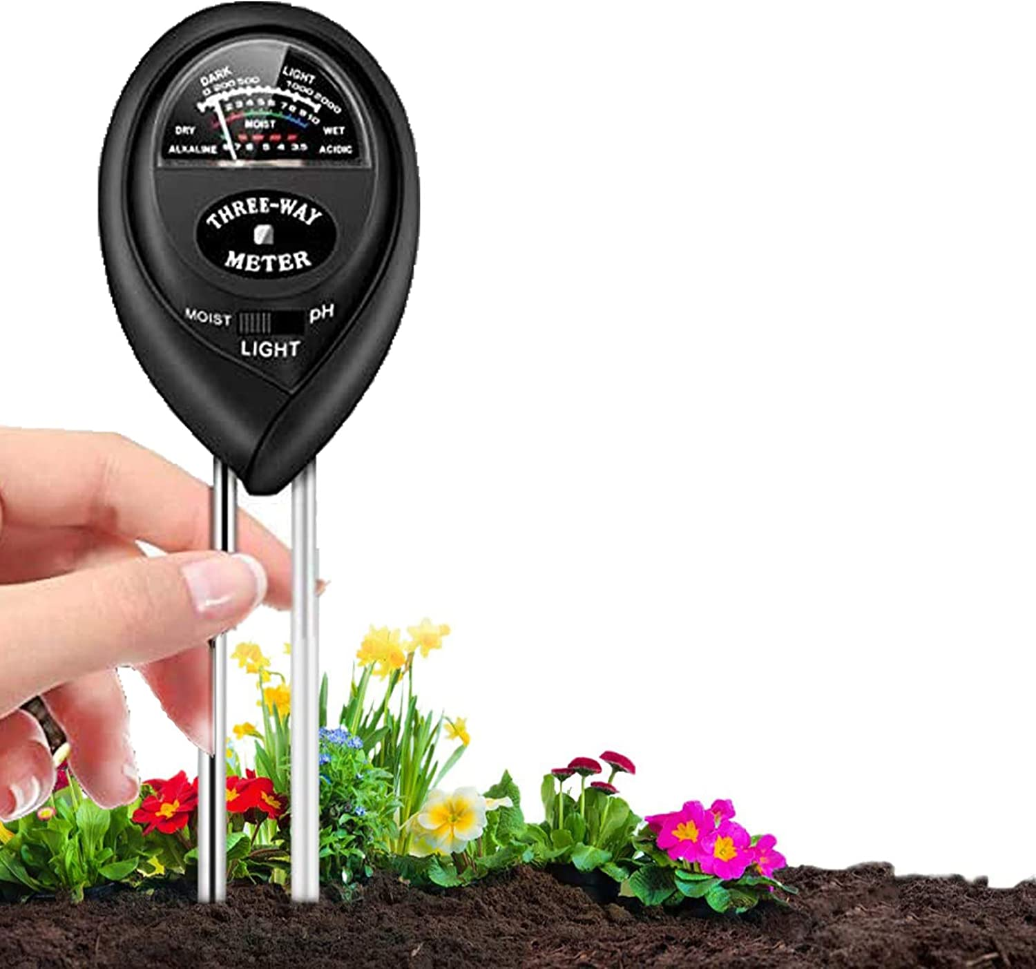 Soil pH Meter, 3-in-1 Soil Moisture/Light/pH Tester and Soil Test Kit for Garden, Lawn, Farm, Indoor & Outdoor, Soil Moisture Meter