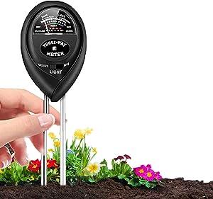 Soil pH Meter, 3-in-1 Soil Moisture/Light/pH Tester and Soil Test Kit for Garden, Lawn, Farm, Indoor & Outdoor, Soil Moisture Meter