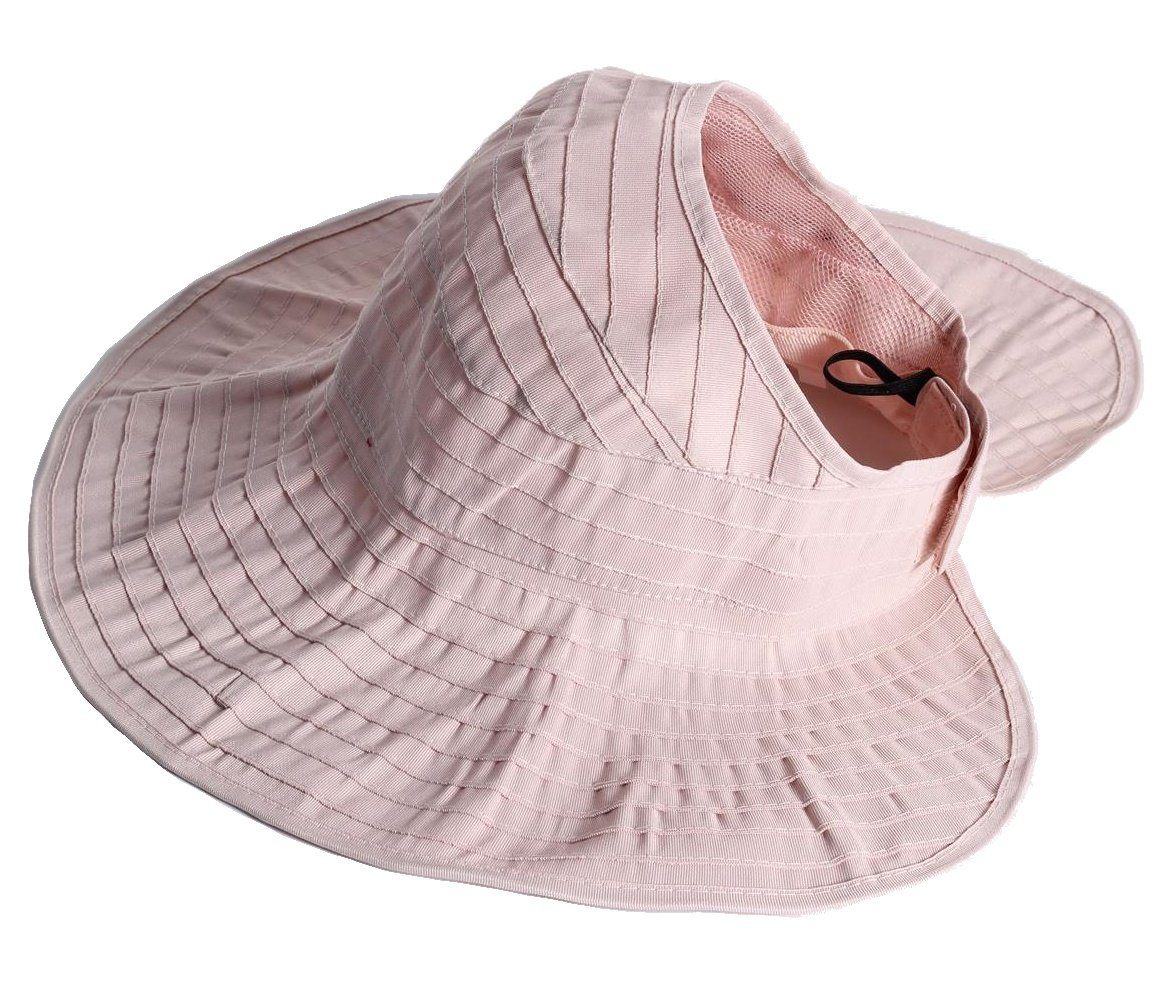 Womens Sun Hat SunJolly Portable Summer Wide Brim UV Protection Floppy Foldable Roll Up Beach Hat and 2PCS Parent-Child Hat for Travel (Women, Light pink)