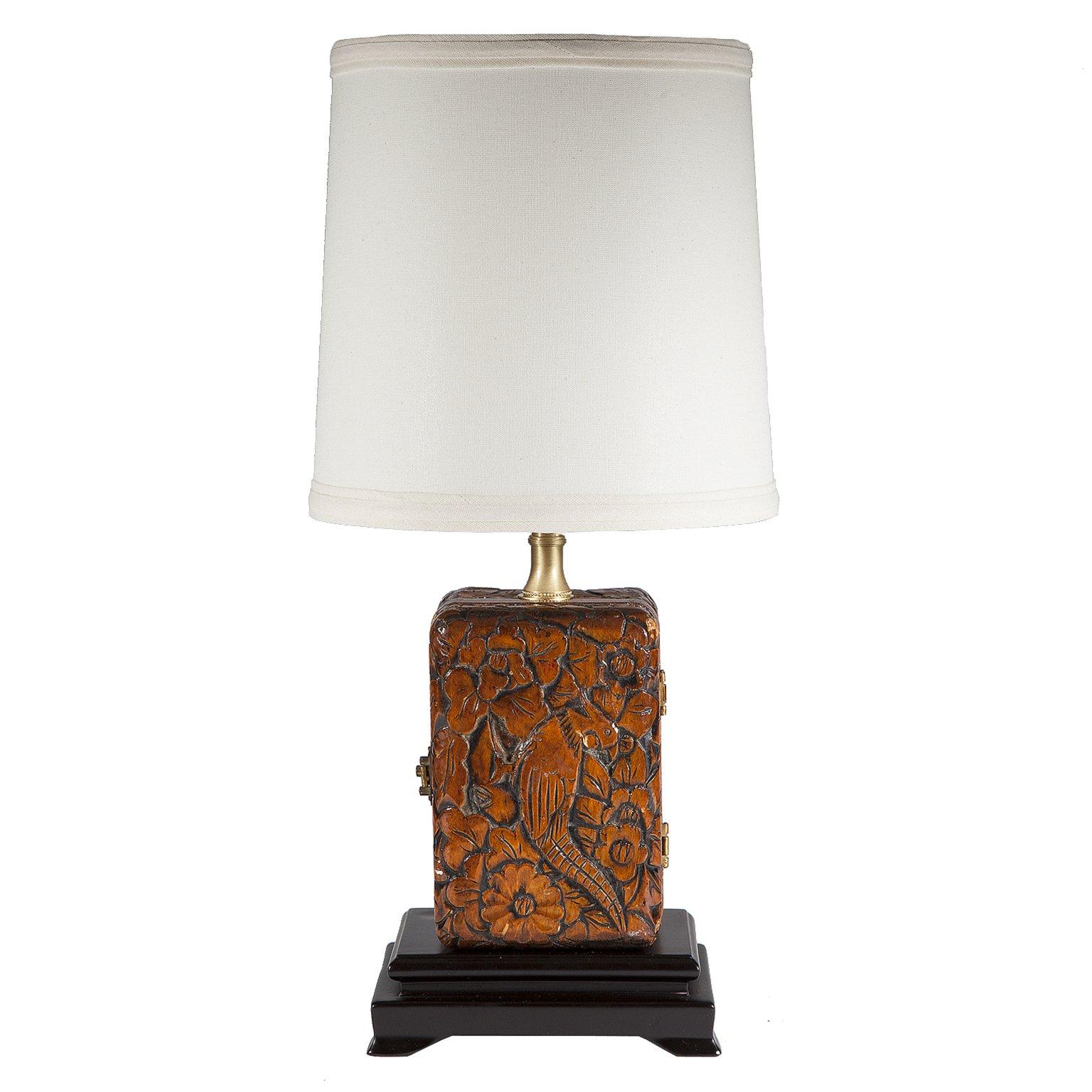 Vintage Carved Wood Box Table Lamp