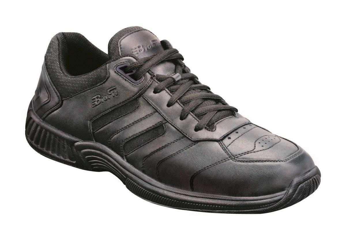 Orthofeet Whitney Comfort Wide Orthopedic Orthotic Diabetic Walking Womens Sneakers Black Leather 8 XW US