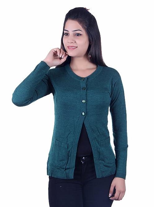 b3a57b5c9a15 Ogarti Women s Wool Cardigan (Green  Free Size)  Amazon.in  Clothing ...