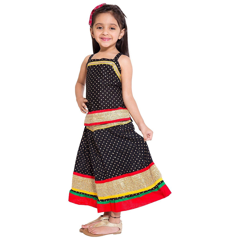 Amazon.com: Beautiful Kids wear Solid Pattern border work Lehenga Choli Top & Skirt Set For Girls: Clothing